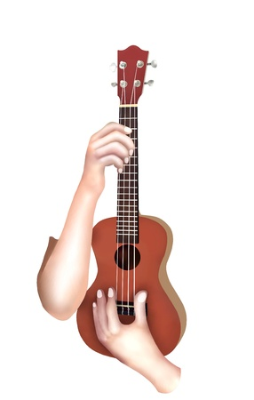 Hand Drawing, Musician Holding and Playing A Cute Modern Brown Color Hawaii Ukulele Guitar, A Small Guitar and Four-String Guitar  photo