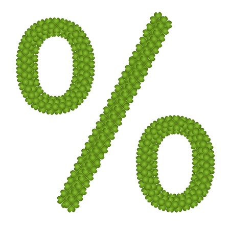 typebar: Ecology Concept, Fresh Green Four Leaf Clover Forming Percentage Symbol Isolated on White Background