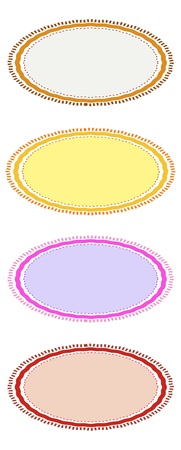 Four Different Color Retro Labels, Brown, Red, Pink and Yellow with Copy Space for Add Content or Picture Stock Photo - 16248640