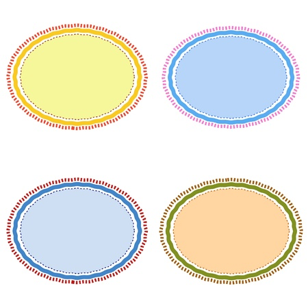 Four Different Color Retro Brown, Blue, Light Blue and Yellow with Copy Space for Add Content or Picture Stock Photo - 16248652