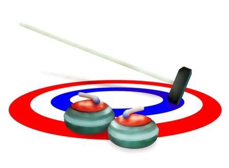 Dessin � la main Sport d'hiver de pierres de curling Balai et dans les anneaux de glace dans le sport de curling isol� sur fond blanc