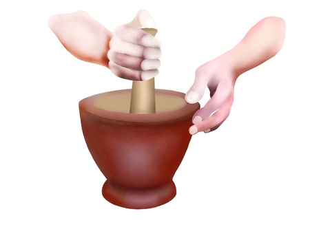 crushing: Hand Drawing, Professional Chef Holding Pestle and Mortar Used for Cooking Delicious Spicy Food  Stock Photo