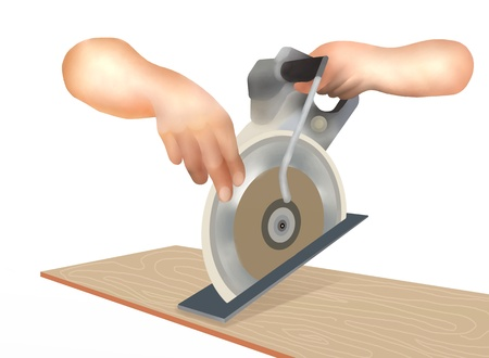 circular saw: Hand Drawing of Carpenter Worker Cutting Wood Plank on Electric Circular Saw Machine, Isolated on White Background