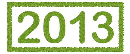 New Year 2013, Made of Four Leaf Clover in Rectangle Horizontal Frame Isolated on White Background