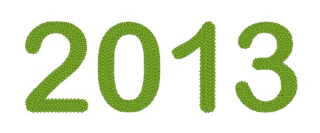 New Year 2013, Made of Four Leaf Clover Isolated on White Background Stock Photo - 16535830