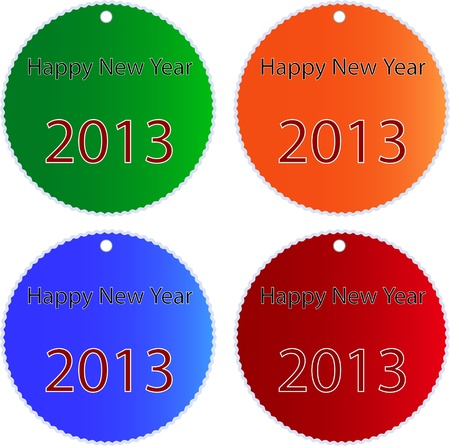 Circular Glossy Sticker in Blue, Red, Green and Orange Colors with Inscription Happy New Year 2013 an Isolated on White Background