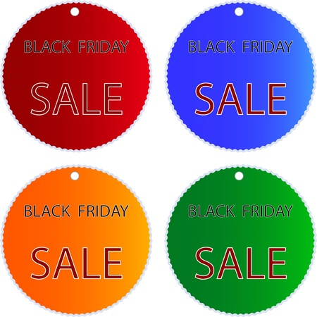 Circular Glossy Sticker in Blue, Red, Green and Orange Colors with Black Friday Sale Wording, Sign for Start Christmas Shopping Season. Stock Photo - 16535825