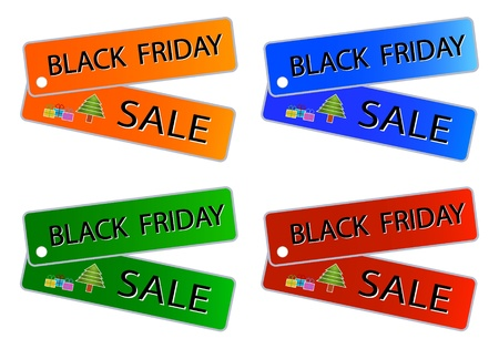 Glossy Sticker in Blue, Red, Green and Orange Colors with Black Friday Sale Wording, Sign for Start Christmas Shopping Season. Stock Photo - 16535820