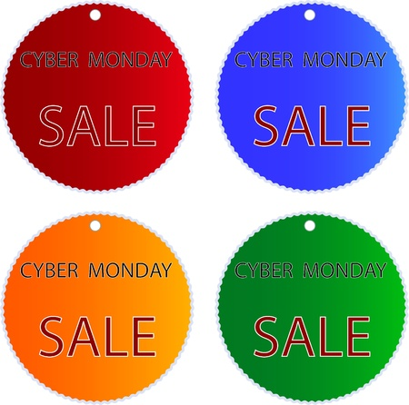 Circular Glossy Sticker in Blue, Red, Green and Orange Colors with Cyber Monday Sale Wording, Sign for Start Christmas Shopping Season.