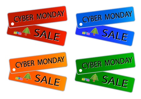 Glossy Sticker in Blue, Red, Green and Orange Colors with Cyber Monday Sale Wording, Sign for Start Christmas Shopping Season.