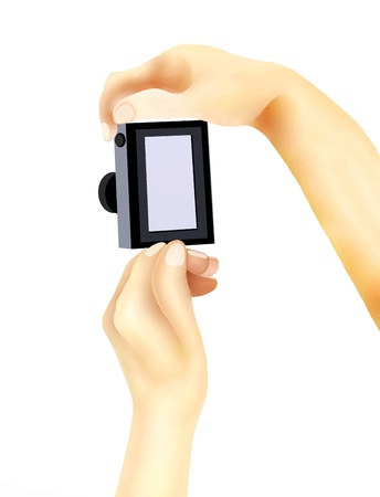 Hand Drawing, Hands Holding A Compact Digital Camera with The White Screen Getting Ready to Take A Photograph  Stock Photo