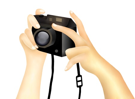 Hand Drawing, Hands Holding A Digital Camera Getting Ready to Take A Photograph