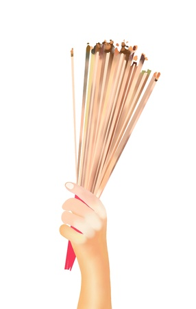 incense sticks: Hand Drawing, Prayer Holding and Waving Smoking Incense Sticks at A Temple Isolated on White Background  Stock Photo