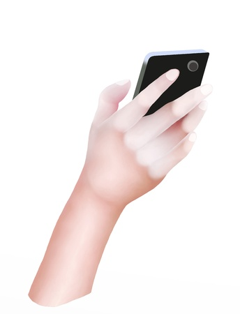 Hand Drawing, Hands Holding Cellular Phone or Mobile Smart Phone and Touching The Screen for Connecting People Stock Photo - 16535819