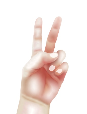 Hand Drawing of Person Showing Hand Sign Up in The Air for Present Victory Sign, Peace Sign or A Number Two Stock Photo - 16535829