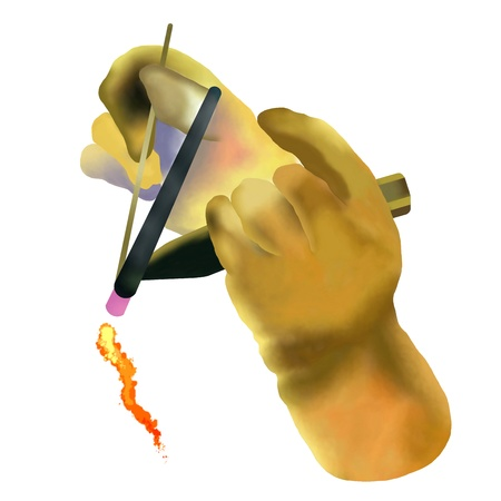 Hand Drawing of Welder Using Welding Tools with Protective Glove Working at His Work Place, Isolated on White Background  photo