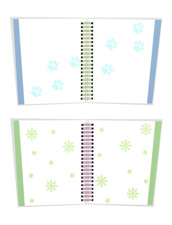 animal tracks: Pagine aperte di blu e verde taccuini a spirale Colori Bound con motivo floreale e faunistico tracce isolato su sfondo bianco Archivio Fotografico