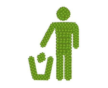 Ecology Concept, Fresh Green Four Leaf Clover Forming A Man Throwing Garbage into A Trash Can Icon for Taking Care of Our Environtment photo