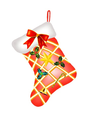 Red Checked Christmas Stocking with Christmas Decorations, Candy Cane, Ribbon, Bell, Holly Leaves and Golden Star Waiting for Santa Stock Photo - 16695454