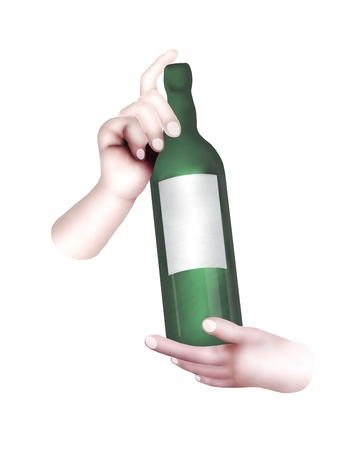 A Time for Celebration, Hand Drawing of Human Hand Showing A Wine Bottle Isolated on White Background photo