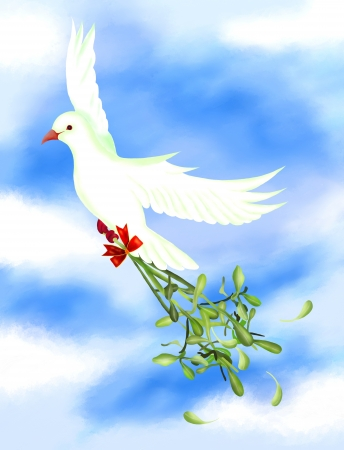 White Pigeons Flying in The Sky and Carrying A Mistletoe Bunch and White Berries with A Christmas Red Ribbon, For Christmas Celebration photo