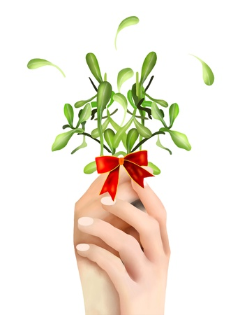 Person Showing Mistletoe Bunch and White Berries with A Christmas Red Ribbon in Hands, Preparing for Hanging For Christmas Celebration Stock Photo - 16695453