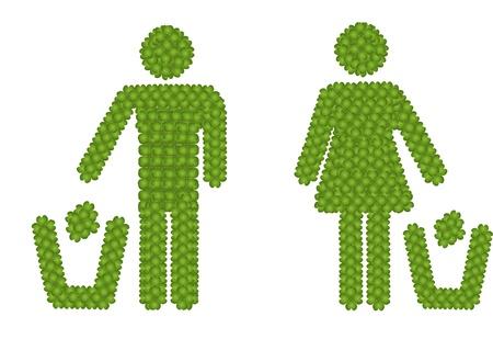 Concept �cologie, Clover Fresh Green Four Leaf Formant Un homme et une femme jeter des ordures dans une poubelle Ic�ne pour prendre soin de notre environtment