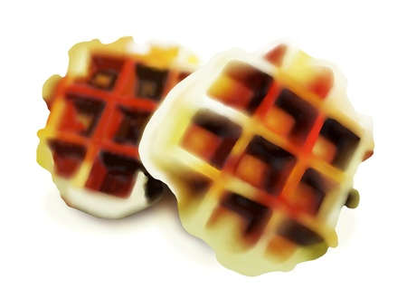 belgian waffle: Hand Drawing of Two Golden Brown Homemade Belgian Waffles, Still Warm from The Waffle Iron