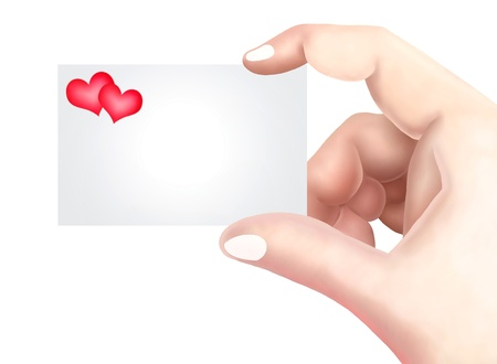 Hand Drawing, Close Up of An Empty Card in A Hand with Red Heart Icon with Copy Space for Add Content or Picture Stock Photo - 17013640