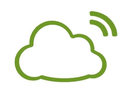 Concept �cologie, Fresh Green Four Leaf Clover formage Nuage Ic�ne de fils RSS Inscrivez isol� sur fond blanc