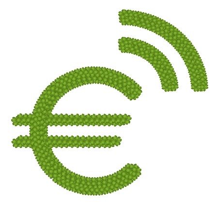 Ecology Concept, Fresh Green Four Leaf Clover Forming European Union Currency or Euro Symbol with RSS Sign Isolated on White Background Stock Photo - 17018097