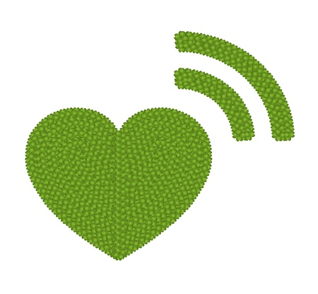 Ecology Concept, Fresh Green Four Leaf Clover Forming Heart Icon with RSS Sign Isolated on White Background Stock Photo - 17018101