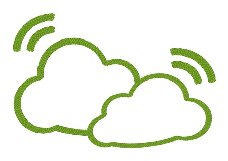 Ecology Concept, Fresh Green Four Leaf Clover Forming of Two Clouds Icon with RSS Sign Isolated on White Background Stock Photo - 17018098