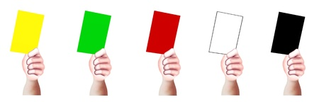 soccer referees hand with red card: Hand Drawing, A Hands of Person Holding A Card of Yellow, Green, Red, White and Black with Copy Space for Add Content or Picture