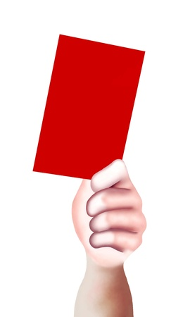 soccer referees hand with red card: Hand Drawing, A Hand of A Sport Referee Holding A Red Card with Copy Space for Add Content or Picture
