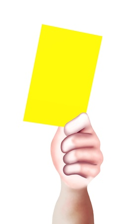 soccer referees hand with red card: Hand Drawing, A Hand of A Sport Referee Holding A Yellow Card with Copy Space for Add Content or Picture