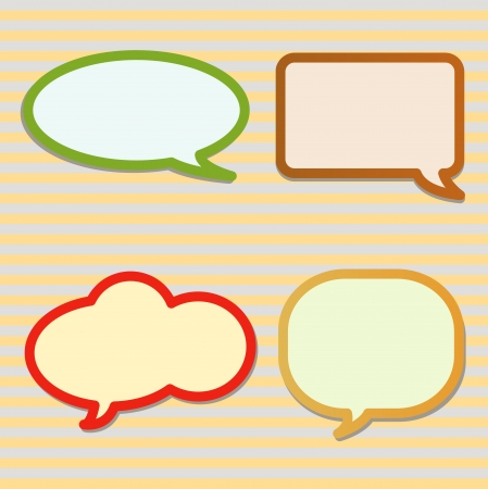 Speech Bubbles Collection with Yellow Colour and Grey Colour Diagonal Lines Ready to Accept Any Message Isolated on White Background photo