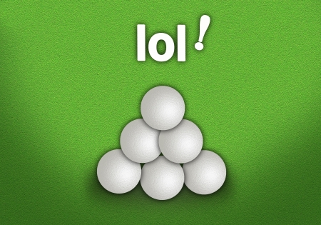 Golf Ball Stacked in Triangle Pyramid Shape on Perfect Golf Green Background photo
