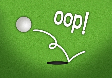 Golf Green with A Golf Ball Out of The Cup with Word  OOP  photo