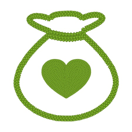 Ecology Concept, Fresh Green Four Leaf Clover Forming Heart Shape Symbol in A Money Bag Icon Icon Isolated on White Background Stock Photo - 17155747