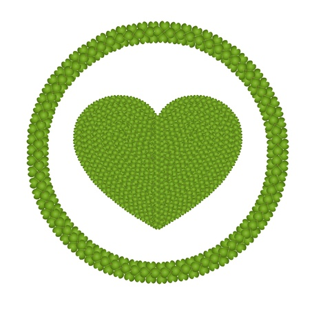 Ecology and Love Concept, Fresh Green Four Leaf Clover Forming Heart Shape in Round Frame Isolated on White Background photo