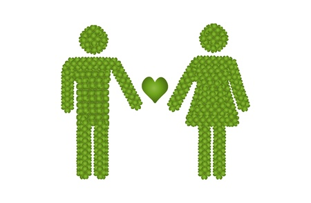 Love Concept, Fresh Green Four Leaf Clover Forming Male and Female Icon or Gender Sign Take Care The Heart of Love Together Stock Photo - 17155776