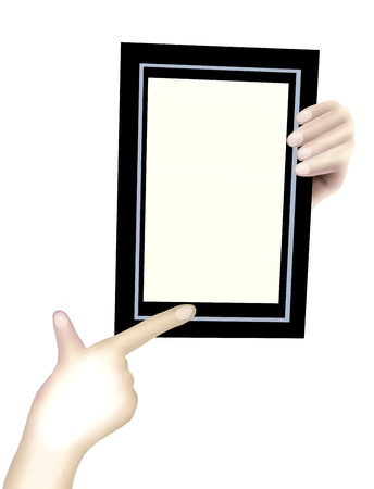 Hand Drawing, Human Hand Holding An Empty Black Picture Frame with Copy Space for Your Content or Picture photo