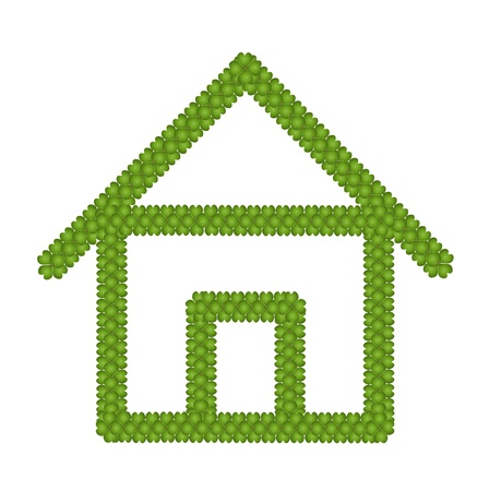 Ecology Concept, Fresh Green Four Leaf Clover Forming House Icon Isolated on White Background Stock Photo - 17155748