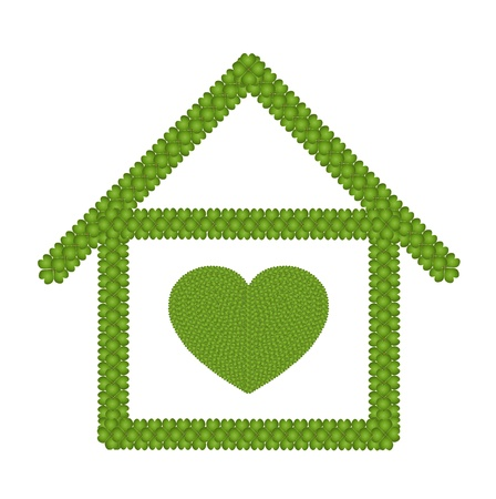 Love Concept, Fresh Green Four Leaf Clover Forming A Heart Symbol in House Icon Isolated on White Background Stock Photo - 17155733