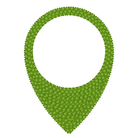 straight pin: Ecology Concept, Fresh Green Four Leaf Clover Forming Map Pin Icon or Straight Pin Isolated on White Background Stock Photo