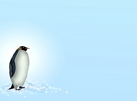 Hand Drawing of A Cute Penguin Standing Alone on White Snow in South Atlantic Ocean, Against A Background of Blue Sky  photo
