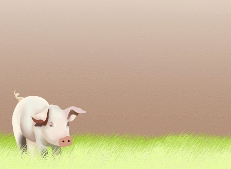 Hand Drawing, of A Lovely Piglet Standing on Green Grass Field Background, Take for Postcard or Note Paper  photo
