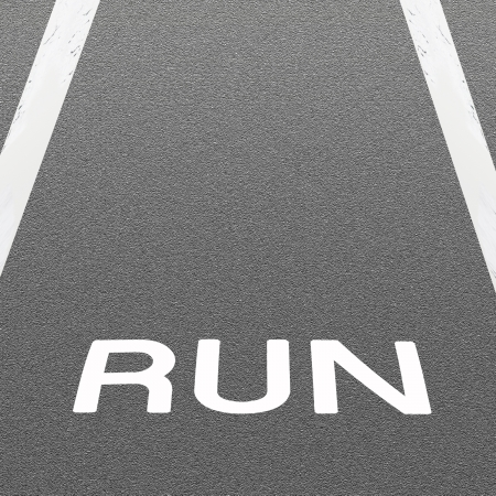 Word  RUN  Painted On A Road Surface Freshly Covered with Asphalt Concrete Texture photo