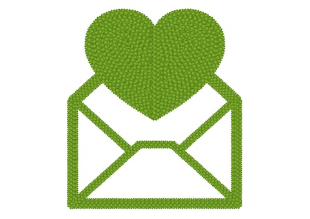 Ecology and Love Concept, Fresh Green Four Leaf Clover Forming Open of Envelope Icon with Big Heart Icon Isolated on White Background Stock Photo - 17155739